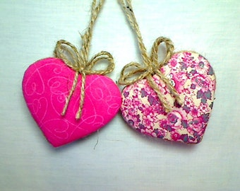 Pink Heart Ornaments | Home Decor | Party Favor | Wedding Bridal |  Holidays | Tree Ornament | Valentines Day | Handmade Gift | Set/2 | #3