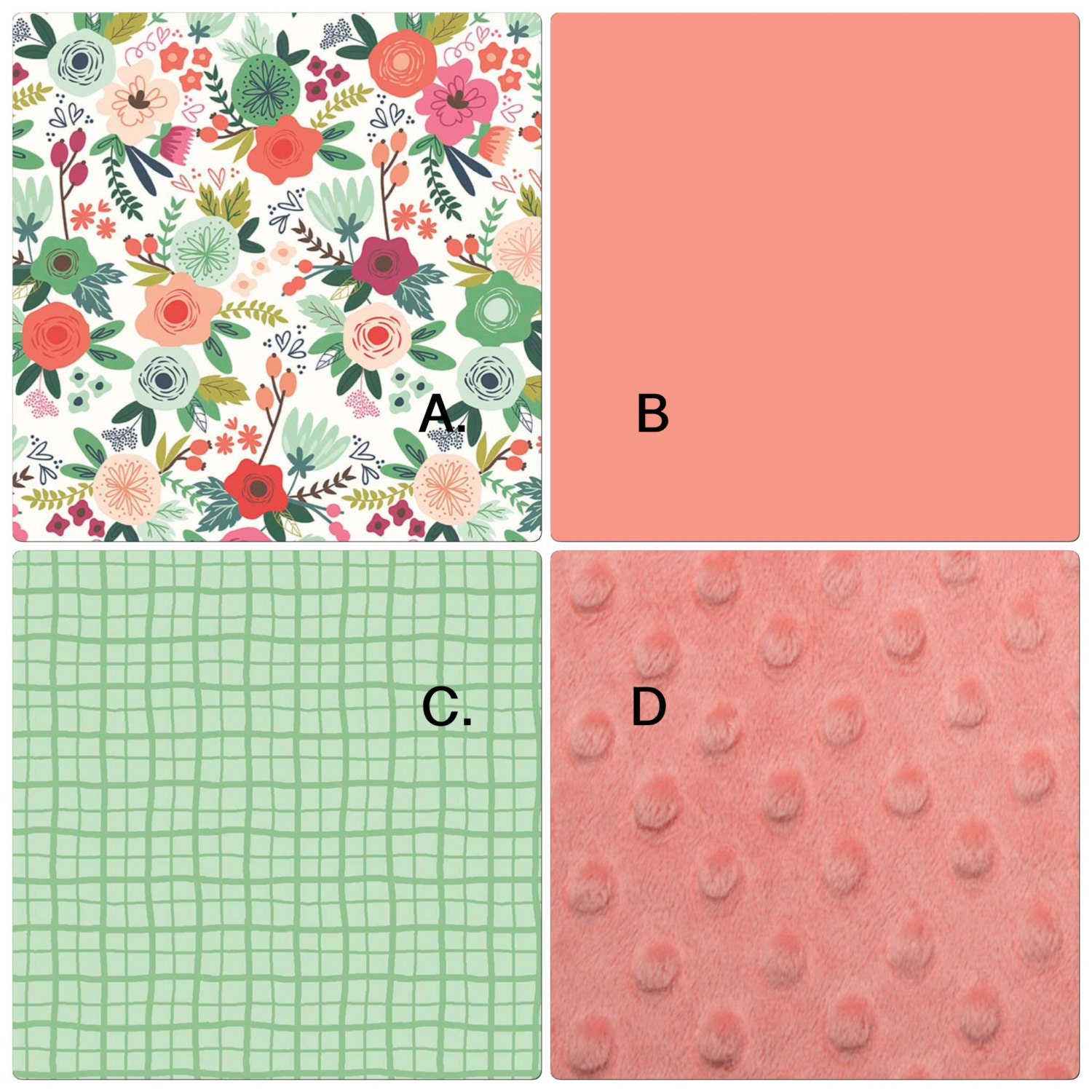 Baby Girl Crib Bedding Set Mint Coral Peach Mint Green Boho