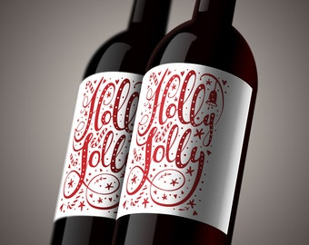 PRINTABLE Christmas Winter Holly Jolly DIY Wine Bottle Gift Tag Gift Wrap Decoration Red White
