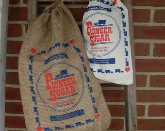 2 feed sack combo, Sugar Sack, Burlap bag, Pioneer Sugar bag, Feed Sacks, Flour sacks, Sugar sack, Historic Feed Sack Design, Michigan Sugar