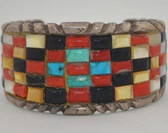 Early Sand Cast Sterling Silver Native American Cuff Bracelet