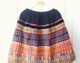 Hmong Handmade Vintage Hemp Batik Hilltribe Fabric  Skirt Boho Ethnic Fashion
