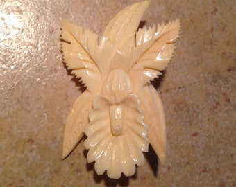 Hand Carved Orchid Brooch