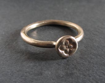 Medieval quatrefoil stackable ring in sterling silver or bronze / artisan ring / small ring / ancient ring / dainty ring / ancient jewelry