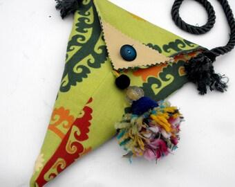 reversible festival pouch cross body yarn tassel hippie bag  boho hobo