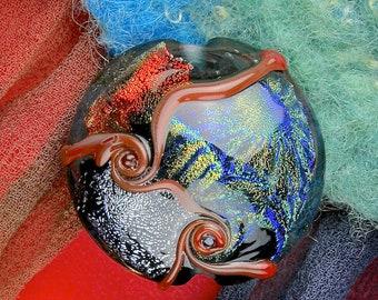 "Lampwork Glass SRA ""Kimono Sampler"" Handmade Dichroic Glass Focal Bead Lentil ~ One of a Kind"