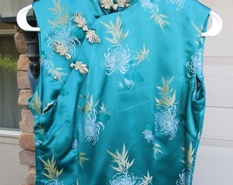 Vintage Satin Cheongsam Brocade Dress Blue Green Sleeveless Chinese Qipao Maxi Gown with Slit