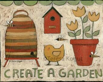 Home Decor | Wall Art | 11x14 | Garden | Folkart | print on wood | Teresa Kogut