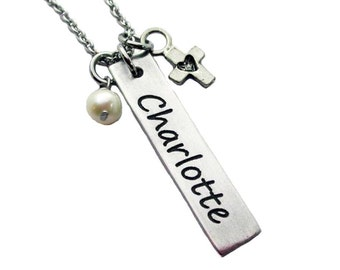 Name and Cross Charm Stamped  Pewter Necklace