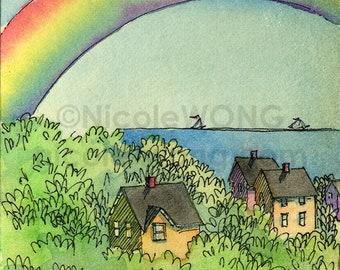 Original ACEO Painting -- Rainbow View