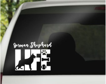 German Shepherd Decal - Car Decal - Pet Decal - Laptop Decal - Window Decal - Vinyl Decal - Car Window Decal - Life Decal