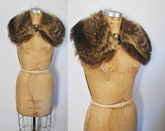 Genuine Raccoon Fur Collar / vintage