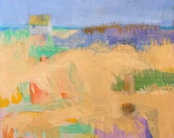 "December Beach Shack - Original Acrylic Oil Encaustic Landscape Painting - 10""x 10"""