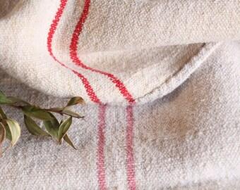 B 912 : Grain Sack antique linen, beautiful ROSE RED, pillow benchcushion 리넨, lin, 37.80 long, wedding, decoration