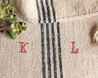 B 923: antique handloomed DEEP SEE BLUE 리넨 grain sack for pillows cushions runners upholstering projects, decoration, 44.09inches long