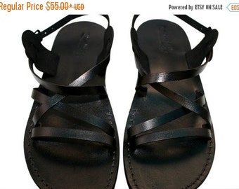 20% OFF Black Star Leather Sandals for Men & Women - Handmade Unisex Sandals, Flip Flop Sandals, Jesus Sandals, Genuine Leather Sandals