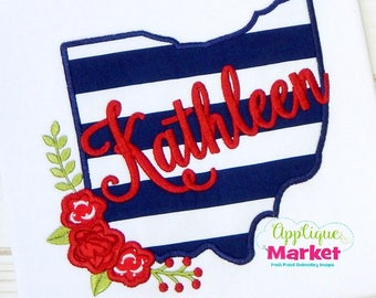 Machine Embroidery Design Embroidery Ohio Flowers Applique INSTANT DOWNLOAD