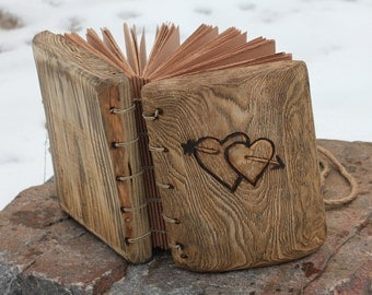 Wedding Guest Book rustic wood journal with hearts and arrow wooden guestbook bridal shower engagement anniversary