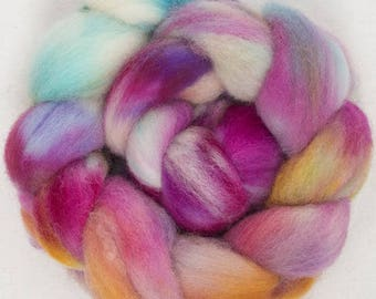 Hand dyed Scottish Down, spinning wool, hand painted roving, combed top, pink, purple, gold, 100g, Isla