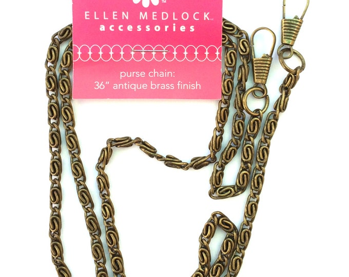 "36"" inch Fine Link Clip-On Purse Chain - Antique Brass or Black Finish DIY Bag Hardware Notion"