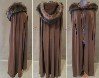 Viking Inspired Faux Fur Wool Cape