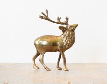 vintage brass reindeer, brass deer figurine, small mid century brass elk