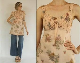 Vintage 70's Floral Empire Preppy Boho Cotton gauze Soft pink Top tunic Bolero jacket Mini dress XXS XS