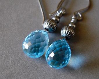 Blue Topaz Earrings, Swiss Blue Topaz Oxidized Sterling Silver Dangle Earrings, Teardrop Faceted Dangle Earrings