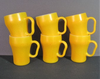 6 Set Fire King Soda Mugs Yellow 60s Vintage Anchor Hocking Oven Proof USA Glass Coffee Cup D Handle Mid Century Mod Kitchen Collectible #2