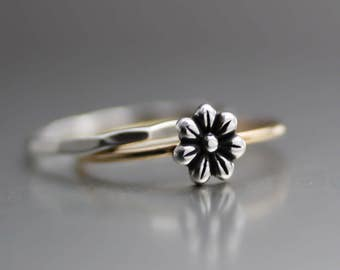Silver Flower Ring, Sterling Flower Ring, Yellow Gold Stack Ring, Bridesmaid Rings, Flower Rings, Stack Rings, Gold Ring, Mothers Rings