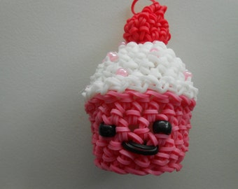 Rainbow Loom Pink Strawberry Cupcake Loomigurumi