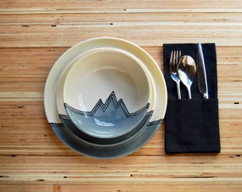 Dinnerware Set - Plate, Salad Plate, Bowl in Gray Mountains (ONE set) Made To Order