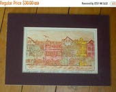 SALE 75%OFF Leilani Etching Rainbow Row Art Signed 1983