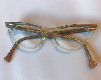 Vintage 1960s American Optical Cat Eye Glasses New Old Stock Size 40-21, Clear and Taupe Colored Vintage Eyeglasses, Eyeglass Frames NOS