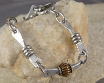 Hand Forged Aluminum Link and Stainless Steel Bracelet With Copper Accents