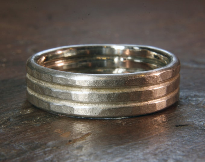 Recycled sterling silver textured double band 6mm wide wedding ring. Hand made in the UK.