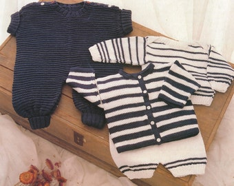 PDF Baby Knitting Pattern / Romper Suit, Striped Cadigan, Striped Sweater, Pilchers / Baby Set in 10ply yarn /PDF Post FREE Knitting Pattern
