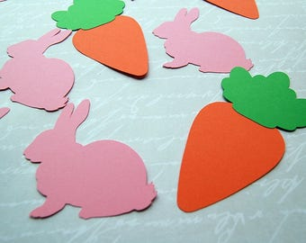 25 easter large jumbo confetti die cuts pink rabbit carrot table scatter place cards