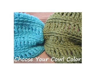 Cowl Neck Warmer, Open Crochet , Made to Order, Custom