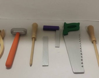 Wooden tools/pretend play/nursery school/photo prop/gift for boy or girl/saw/hammer/screwdriver/pliers/t-square/Tool set/tools