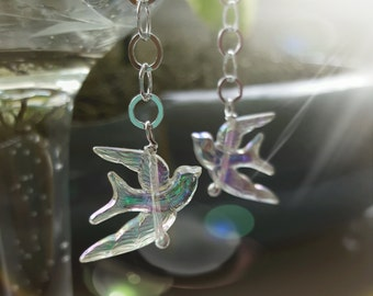hope earrings - iridescent bird charms - sterling silver chain - bird earrings - sterling silver earrings