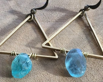 Sale!!! Reg 25.00 sale 20.00 Raw brass and apatite earrings