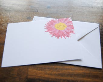 Personalized Stationery Set, KAYLA, Custom Stationery, Thank You Note Cards, Personalized Notecards, Blank Notecards, Daisy, Flower, Cute
