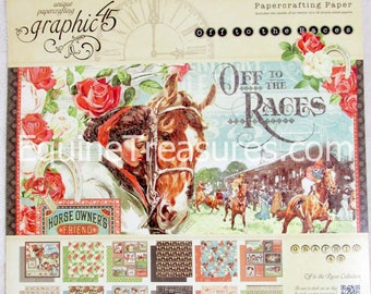 G45 Graphic 45 Off to the Races 12x12 double-sided Paper Pad PaperCrafting Horse Racing Scrapbooking