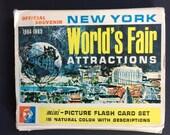 ED-U-CARDS 1964-65 New York World's Fair Attractions Mini Picture Flash Card Set Official Souvenir Vintage Ephemera Altered Art MCM 60s