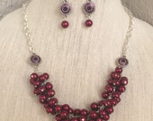 ON SALE HOLiday CHRISTmas Burgundy Pearl Rhinestone Cluster Teacher CO-Worker Gift STOCKing STUFFer Special Occasson Necklace Set By DYEnami