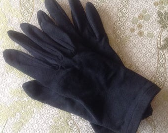 Vintage Black Nylon Gloves, Made in Japan, OSFA, Wrist Length Gloves