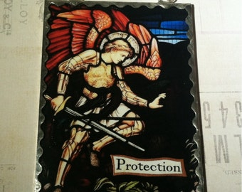"""Archangel Michael """"Protection"""" Wall Plaque Soldered Flat Glass Inspirational Ornament Altar Decor"""