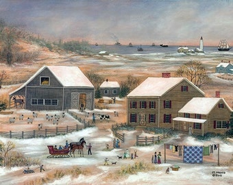 Nantucket Sheep Farm in Winter - Limited Edition Print _ by J.L. Munro