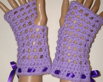 Springtime Crochet Finglerless Glove Wristers Lilac/Driving Gloves/Gauntlets/Texting Gloves/Fingerless Gloves/Women's Accessories/Summertime